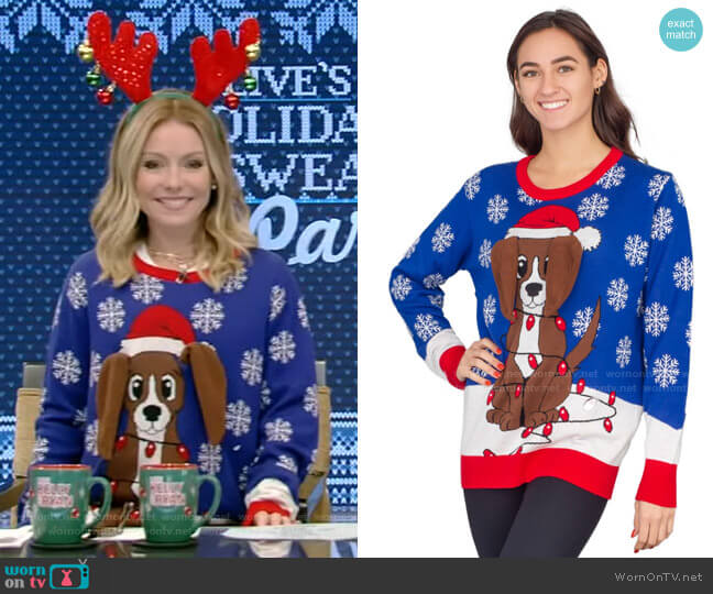 Flappy Dog Animated Puppy Ears Ugly Christmas Sweater by Ugly Christmas Sweater worn by Kelly Ripa  on Live with Kelly & Ryan