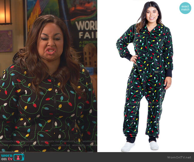 Christmas Lights Jumpsuit by Tipsy Elves worn by Raven Baxter (Raven-Symoné) on Ravens Home