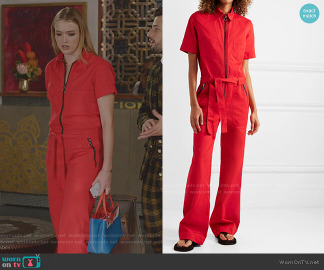 Belted Cotton-Drill Jumpsuit by Victoria Victoria Beckham worn by Kirby Anders (Maddison Brown) on Dynasty