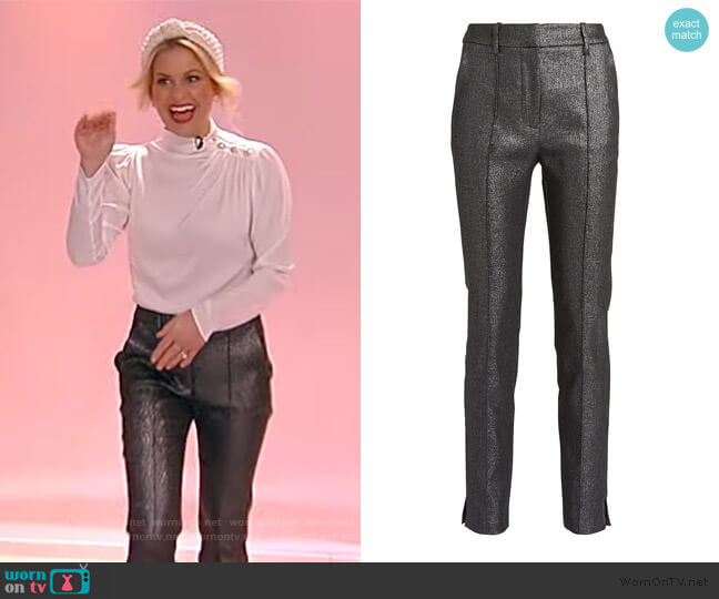 Carlson Lurex Trousers by Veronica Beard worn by Candace Cameron Bure on the Tamron Hall Show