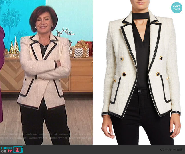 Cato Double Breasted Tweed Blazer by Veronica Beard worn by Sharon Osbourne  on The Talk