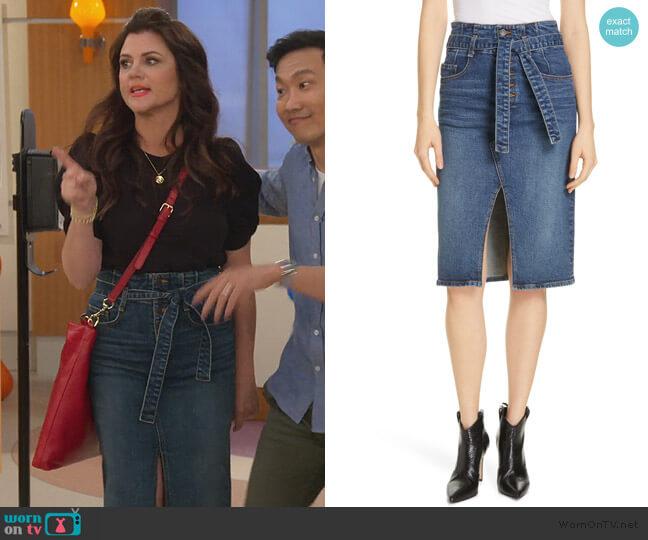 Denton High Waist Denim Skirt by Veronica Beard worn by Lori Mendoza (Tiffani Thiessen) on Alexa & Katie