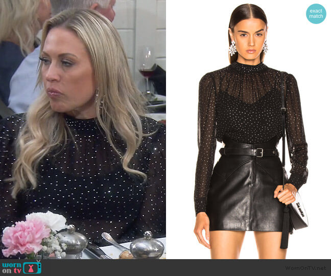 Mena Top by Veronica Beard worn by Braunwyn Windham-Burke  on The Real Housewives of Orange County