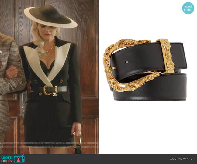 40mm Leather Belt with Gold Buckle by Versace worn by Alexis Carrington (Elaine Hendrix) on Dynasty