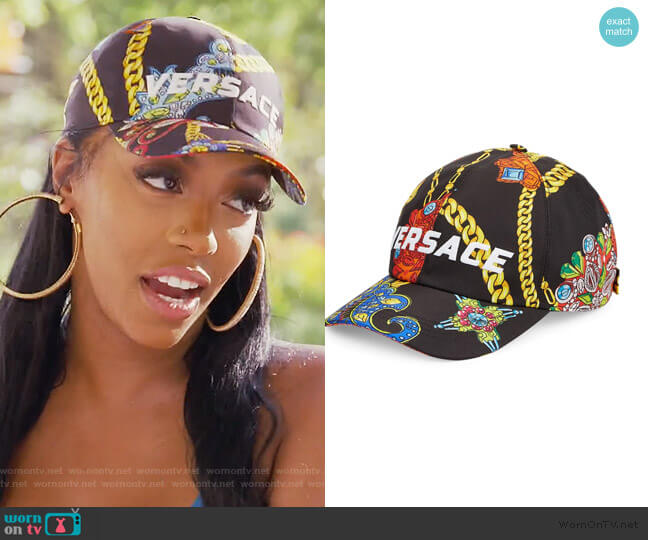 Jewelry Barocco Print Logo Embroidered Baseball Cap by Versace worn by Porsha Williams  on The Real Housewives of Atlanta