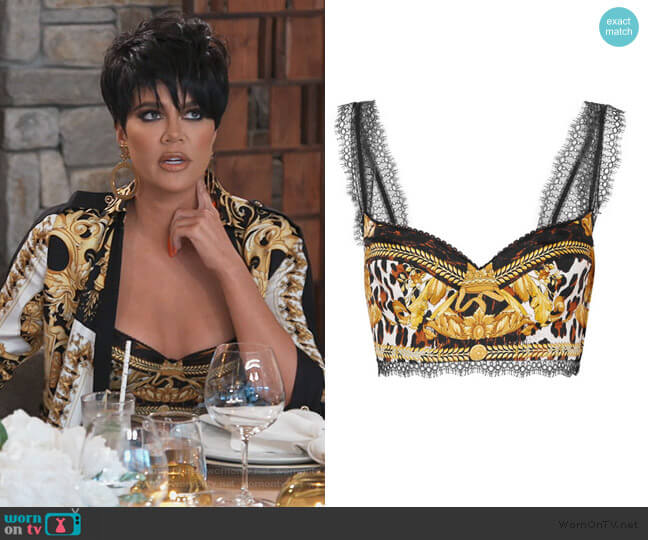 Lace-trimmed printed silk bra top by Versace worn by Khloe Kardashian  on Keeping Up with the Kardashians