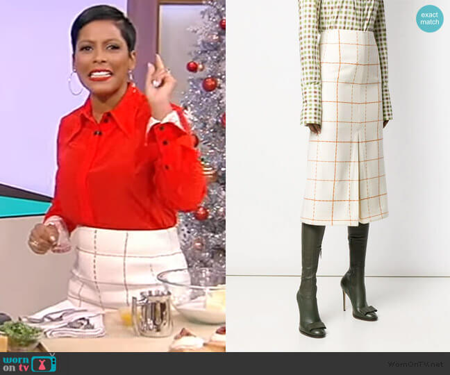Check Pleated Skirt by Victoria Beckham worn by Tamron Hall  on Tamron Hall Show