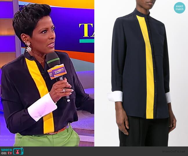 Contrast Stripe Shirt by Victoria Victoria Beckham worn by Tamron Hall  on Tamron Hall Show