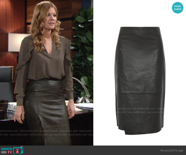 Vince Slit Leather Midi Skirt  worn by Phyllis Summers (Michelle Stafford) on The Young & the Restless