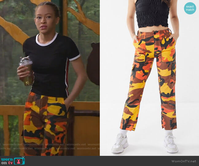 Vintage Colorful Camo Bold Pant by Urban Renewal at Urban Outfitters worn by Ava (Shelby Simmons) on Bunkd