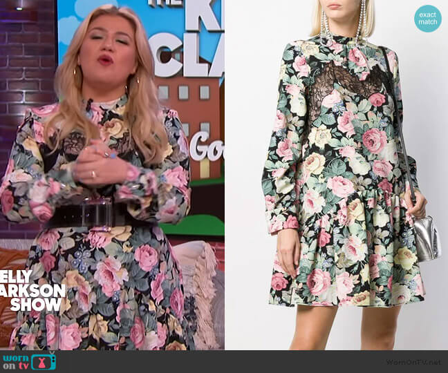 Lace insert Floral Print Dress by Vivetta worn by Kelly Clarkson  on The Kelly Clarkson Show