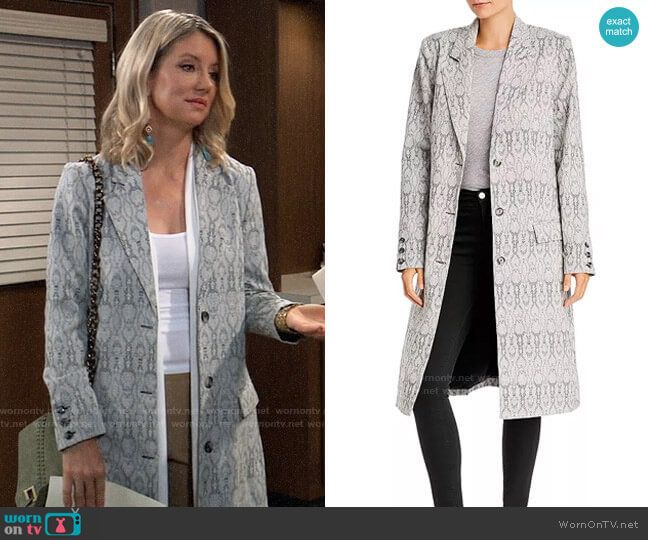 WAYF Marly Snake Print Coat worn by Nina Reeves (Cynthia Watros) on General Hospital