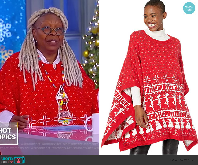 Fair Isle Knit Cape by Whoopi worn by Whoopi Goldberg  on The View