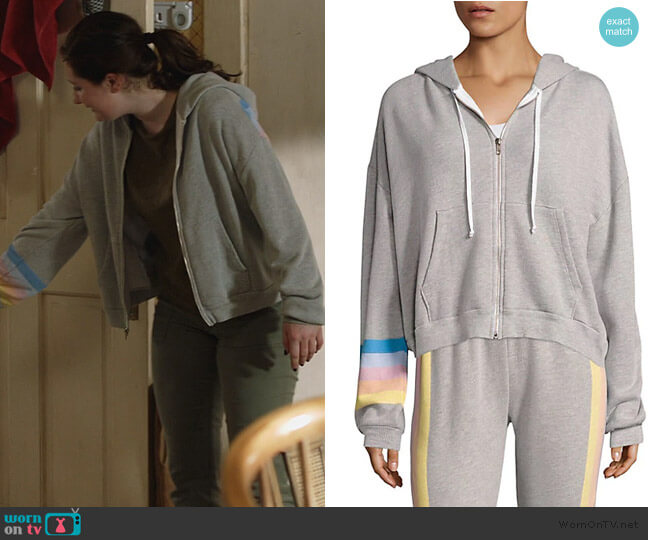 Spectrum Hoodie Striped Sweat Jacket by WildFox worn by Debbie Gallagher (Emma Kenney) on Shameless