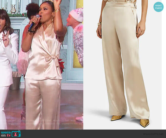 Kati Satin Wide-Leg Pants by Zero + Maria Cornejo worn by Eve  on The Talk