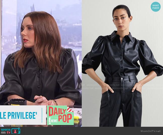 Faux Leather Shirt by Zara worn by Melanie Bromley  on E! News