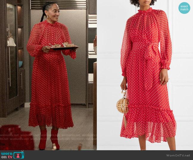 Zimmermann Ninety-Six Swing polka-dot silk-georgette midi dress worn by Rainbow Johnson (Tracee Ellis Ross) on Blackish