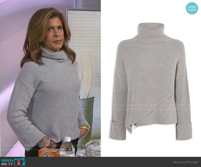 Zip-detail Turtleneck Sweater by Karen Millen worn by Hoda Kotb  on Today