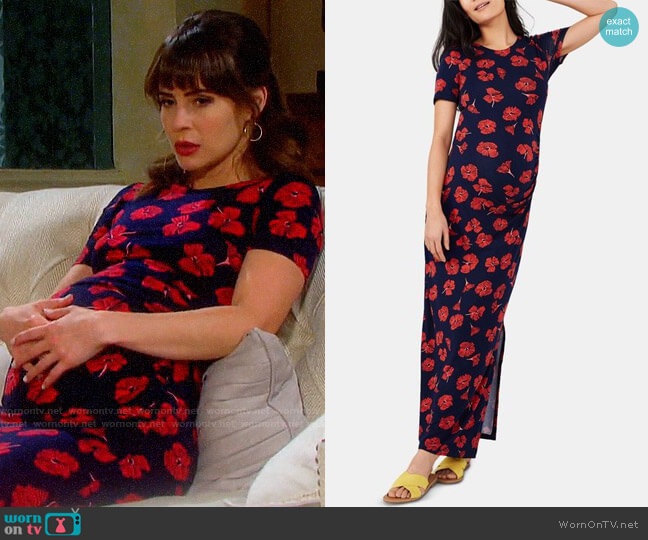 A Pea in the Pod Maternity Ruched Dress worn by Sarah Horton (Linsey Godfrey) on Days of our Lives