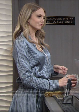 Abby's blue striped dress on The Young and the Restless