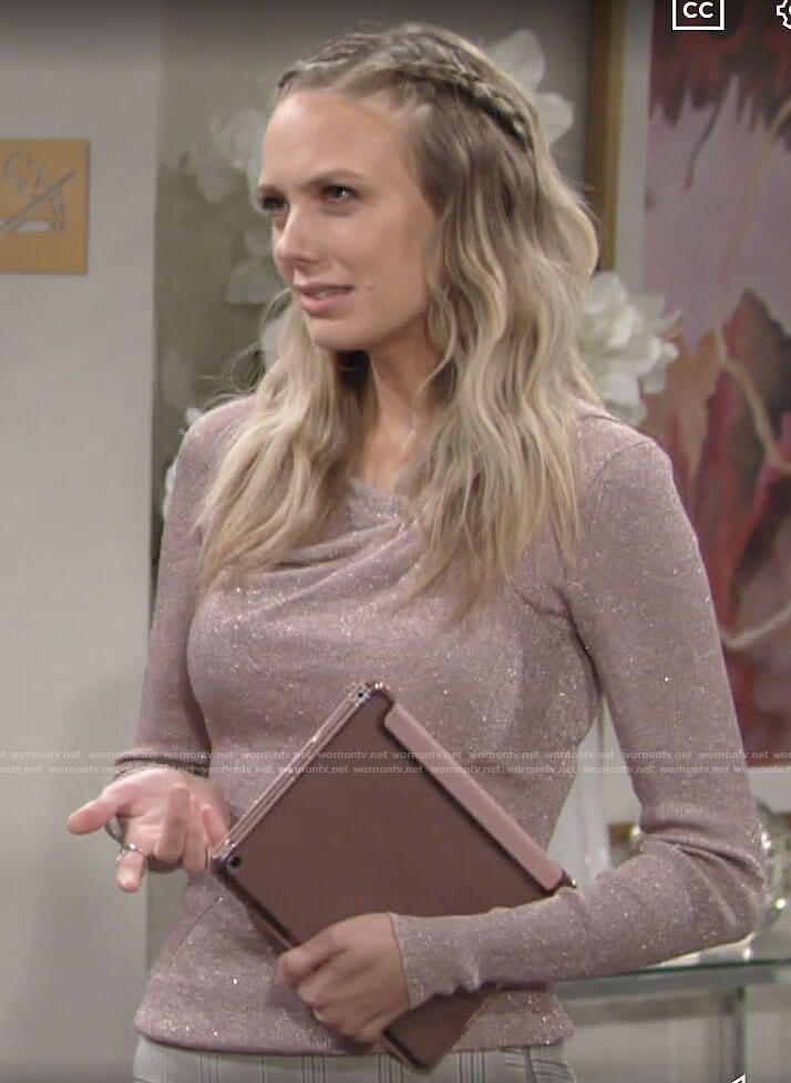 Abby's metallic sweater on The Young and the Restless