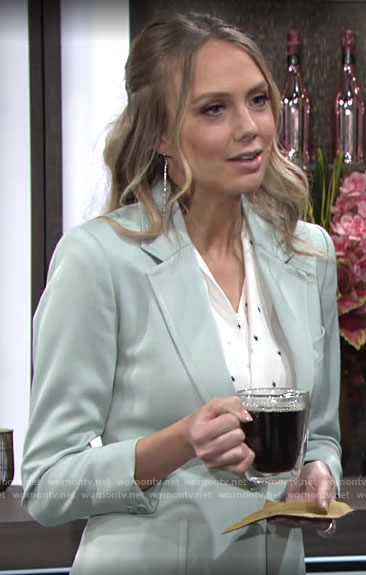 Abby's mint green blazer and star print blouse on The Young and the Restless