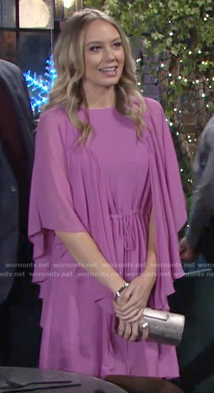 Abby's pink flared sleeve dress on The Young and the Restless