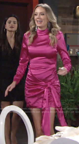 Abby's pink side tie mini dress on The Young and the Restless
