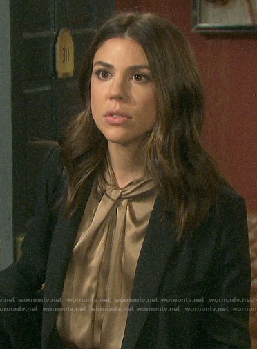 Abigail's gold knot neck dress on Days of our Lives
