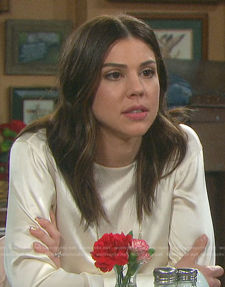 Abigail's ivory silky blouse on Days of our Lives