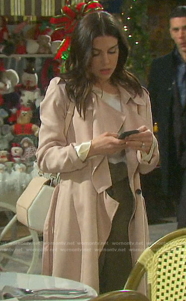 Abigail's blush pink draped front trench coat on Days of our Lives