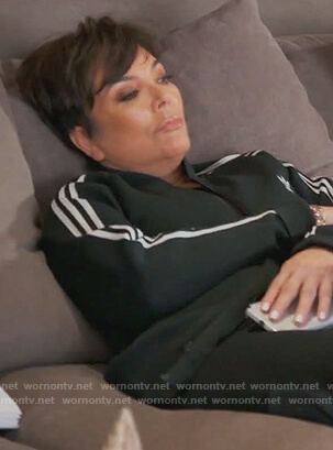 Kris's black Adidas track jacket on Keeping Up with the Kardashians