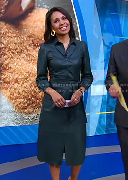 Adrienne's green leather shirtdress on Good Morning America