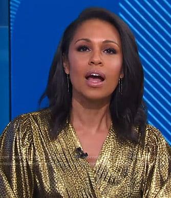 Adrienne's metallic wrap blouse on Good Morning America