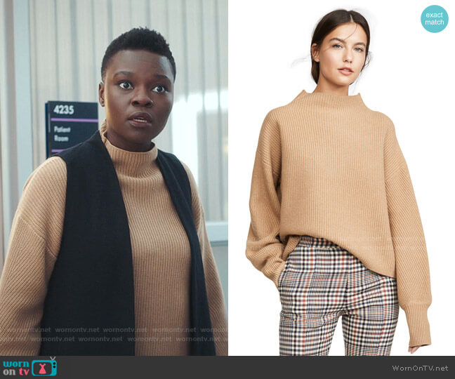Helena Sweater by A.L.C. worn by Mina Okafor (Shaunette Renee Wilson) on The Resident