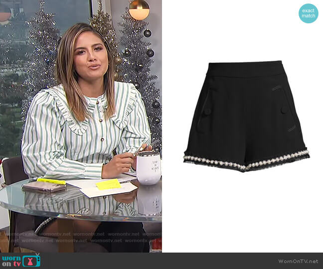 Kendrick Imitation Pearl-Trim A-Line Shorts by Alexis worn by Erin Lim  on E! News