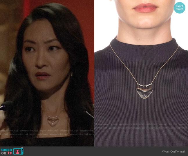Alexis Bittar Crystal Bar Shield Pendant Necklace worn by Catherine Hamilton-Kane (Elizabeth Anweis) on Batwoman