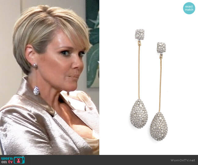 Alexis Bittar Elements Long Teardrop Earrings worn by Ava Jerome (Maura West) on General Hospital