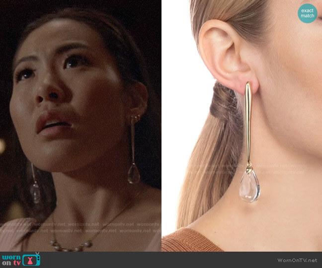 Alexis Bittar Linear Tear Drop Post Earring worn by Mary Hamilton (Nicole Kang) on Batwoman
