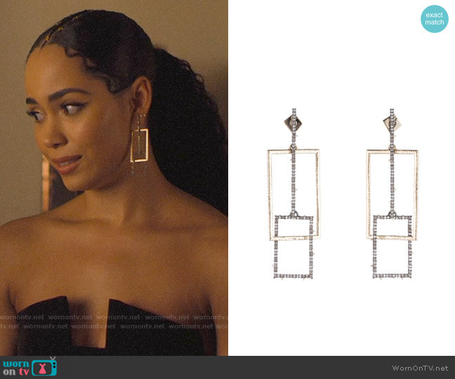 Alexis Bittar Brutalist Butterfly Crystal Encrusted Linear Earrings worn by Macy Vaughn (Madeleine Mantock) on Charmed