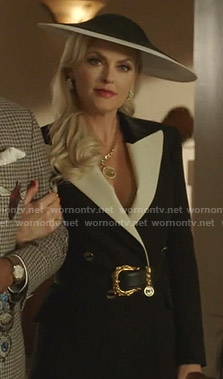 Alexis's black and white peak lapel blazer on Dynasty