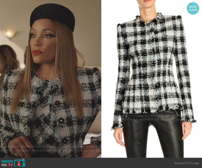 Collarless Tweed Jacket by Alexander McQueen worn by Dominique Deveraux (Michael Michele) on Dynasty