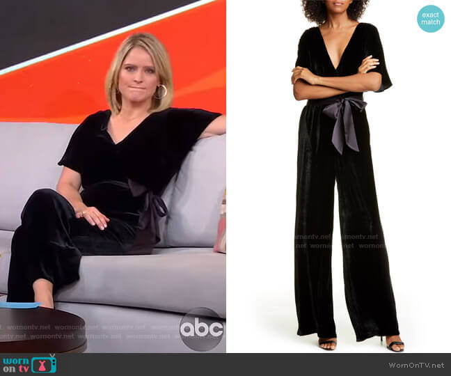 Breanna Faux Wrap Front Velvet Jumpsuit by Alice + Olivia worn by Sara Haines  on Good Morning America