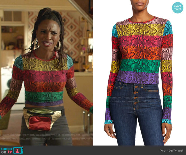 Delaina Stripe Reptile Print Crop Top by Alice + Olivia worn by Veronica Fisher (Shanola Hampton) on Shameless