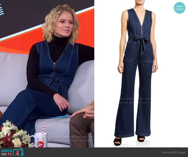 Gorgeous V-Neck Denim Jumpsuit by Alice + Olivia worn by Sara Haines  on Good Morning America