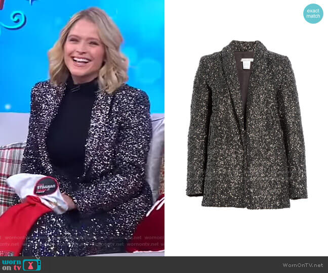 Jace Oversize Sparkle Blazer by Alice + Olivia worn by Sara Haines  on Good Morning America