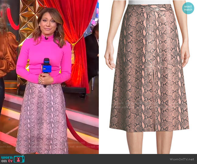 Romi Snake-Print Leather Midi Skirt by Alice + Olivia worn by Ginger Zee  on Good Morning America