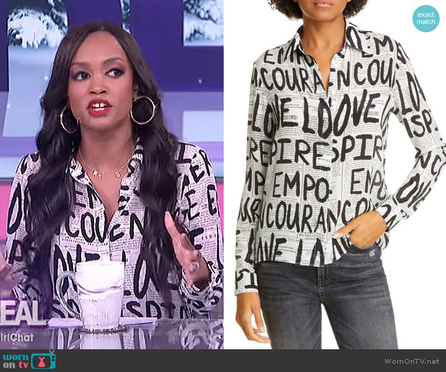 Willa Silk Top by Alice + Olivia  worn by Rachel Lindsay on The Real