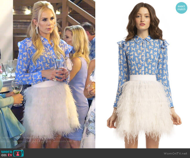 Zimmer Blouse and Cina White Feather Skirt by Alice + Olivia worn by Kameron Westcott  on The Real Housewives of Dallas
