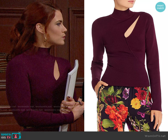 Alice + Olivia Sophie Cutout Turtleneck Top worn by Sally Spectra (Courtney Hope) on The Bold & the Beautiful
